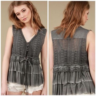 Shoptiques Grey Tank With Tiered Ruffles