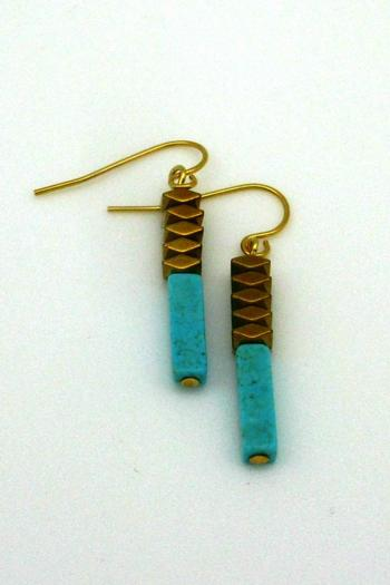 Magnolia Turquoise Gold Earrings - Main Image
