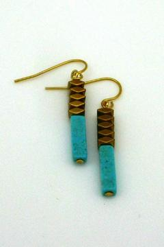 Shoptiques Product: Turquoise Gold Earrings