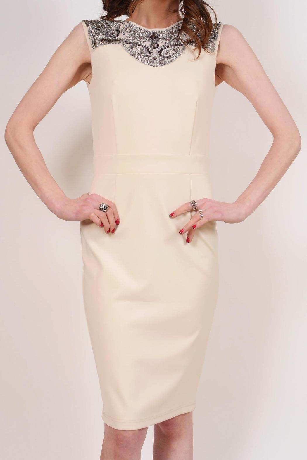 Little Mistress Cream Cocktail Dress - Front Cropped Image