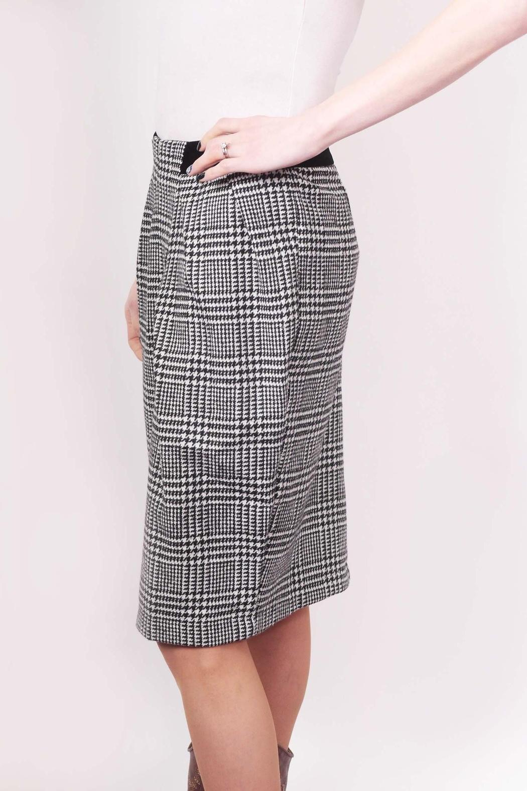 Miss Finch B/w Hounds-Tooth Skirt - Side Cropped Image