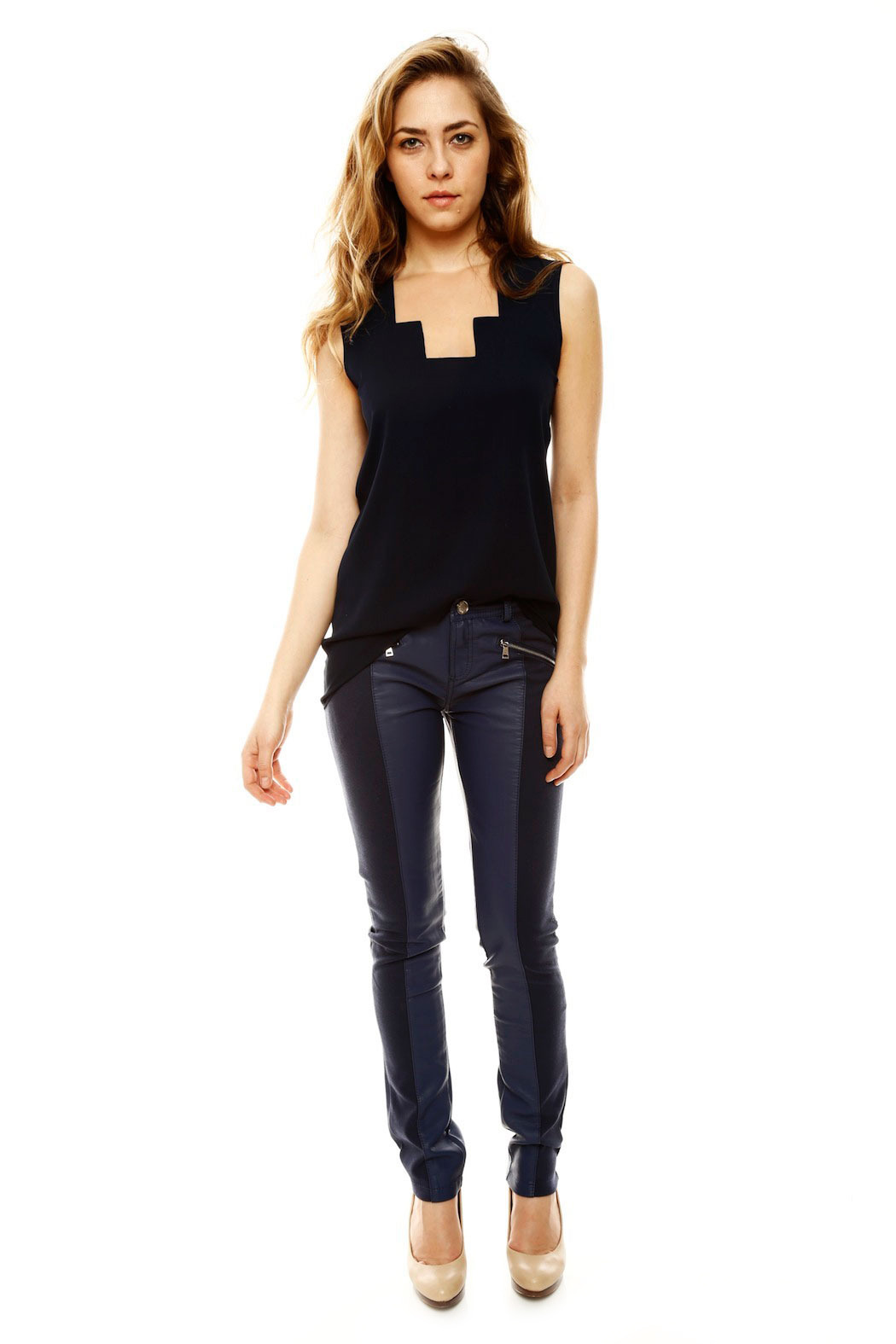 Laura Jo Navy Faux Leather Pants - Front Full Image