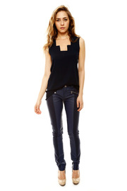Laura Jo Navy Faux Leather Pants - Front full body