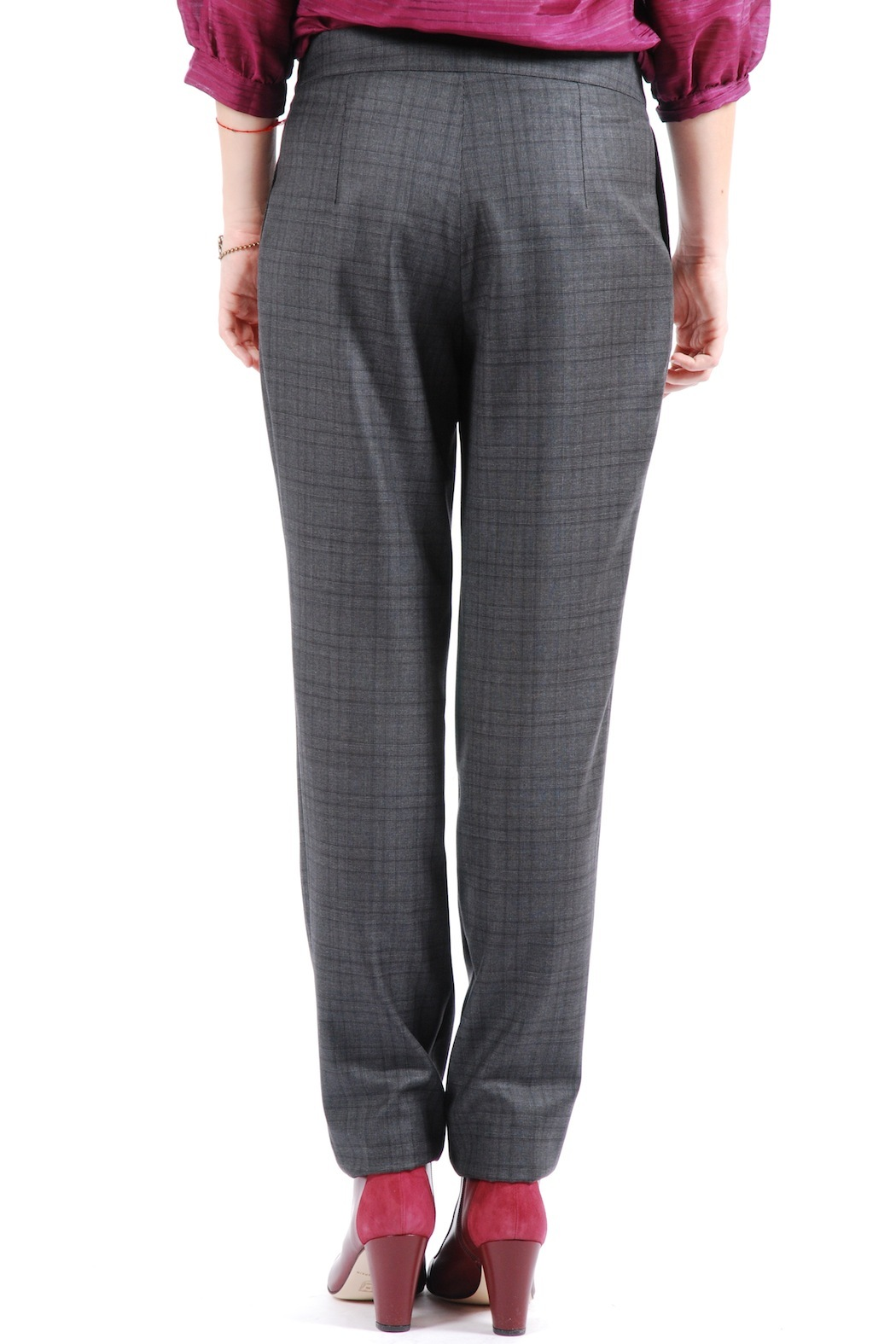 Phalaenopsis Pleated Cigarette Trousers - Back Cropped Image