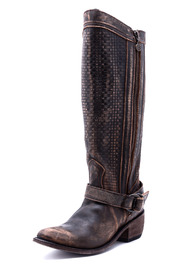 Liberty Black Vintage Distressed Boot - Back cropped