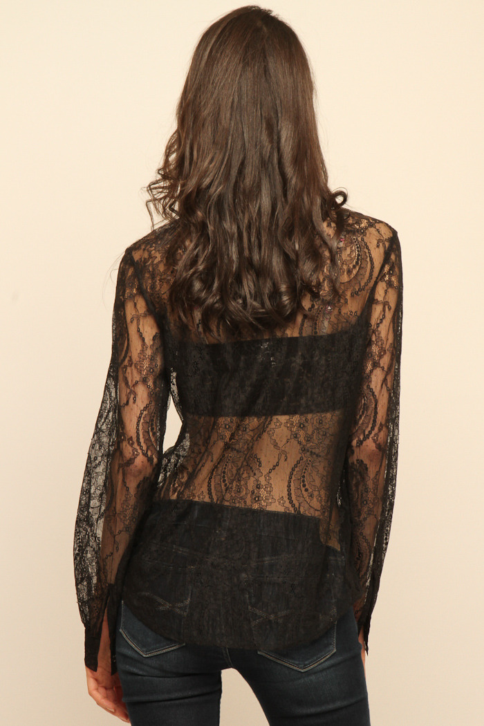 Cuffe Parade Chantlilly Lace Blouse - Back Cropped Image