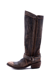 Liberty Black Vintage Distressed Boot - Front cropped