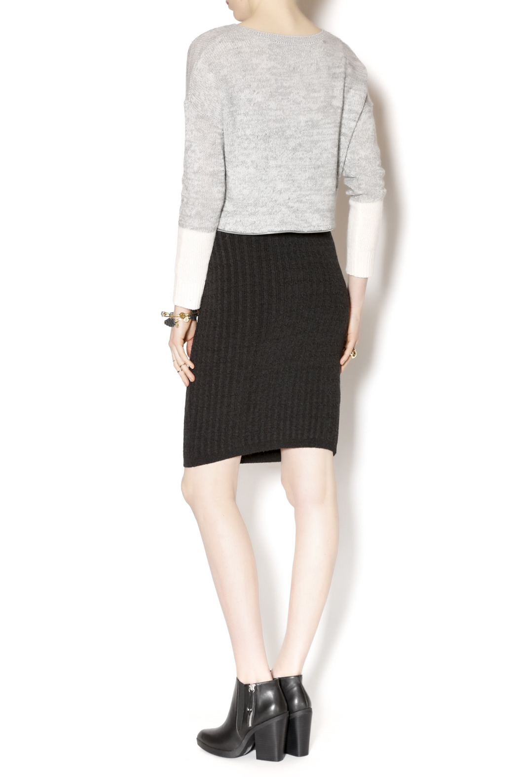 M. Rena Cable Sweater Skirt - Side Cropped Image