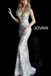 Jovani Plunging Neckline Gown - Product Mini Image