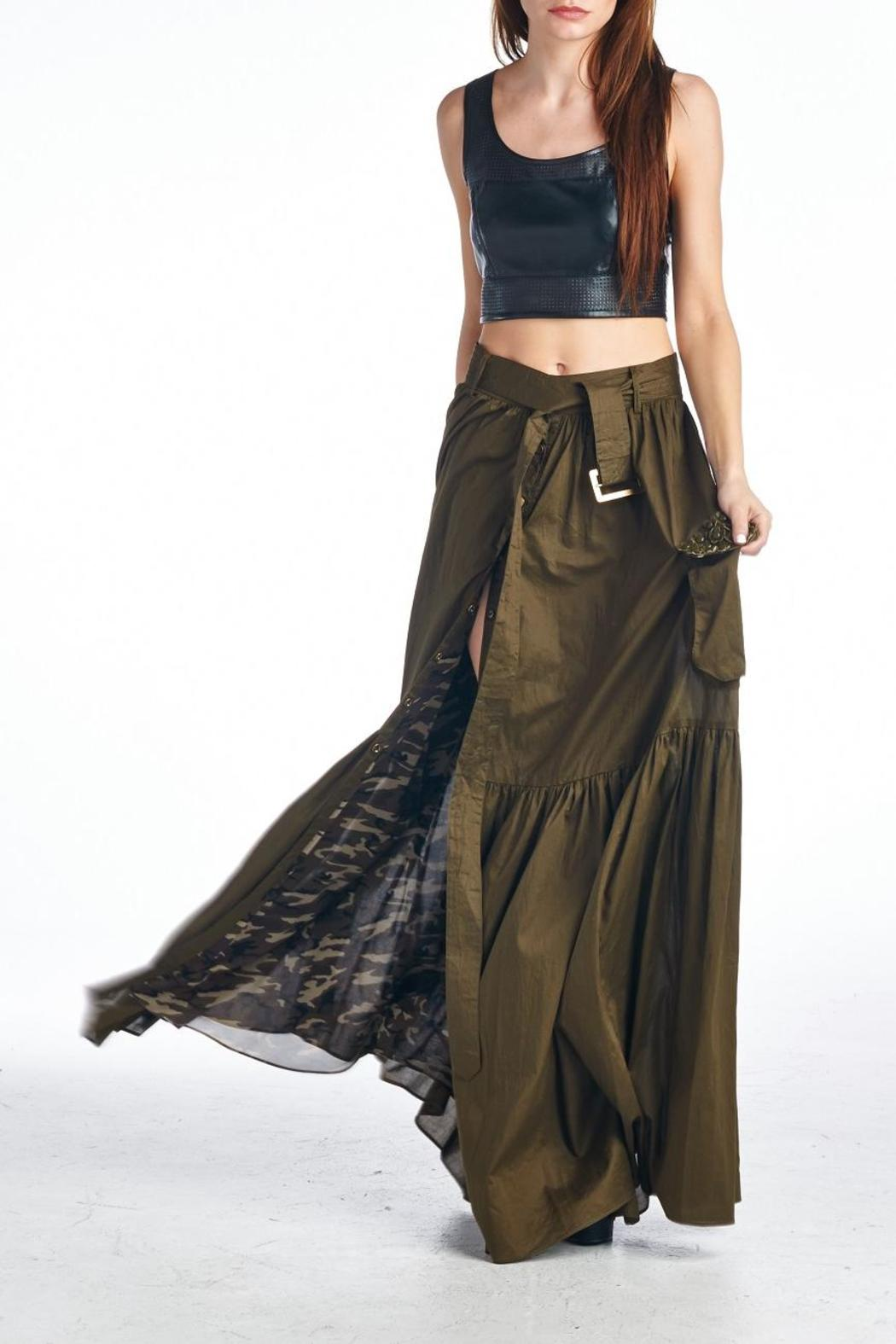 MHGS Olive Maxi Skirt - Back Cropped Image