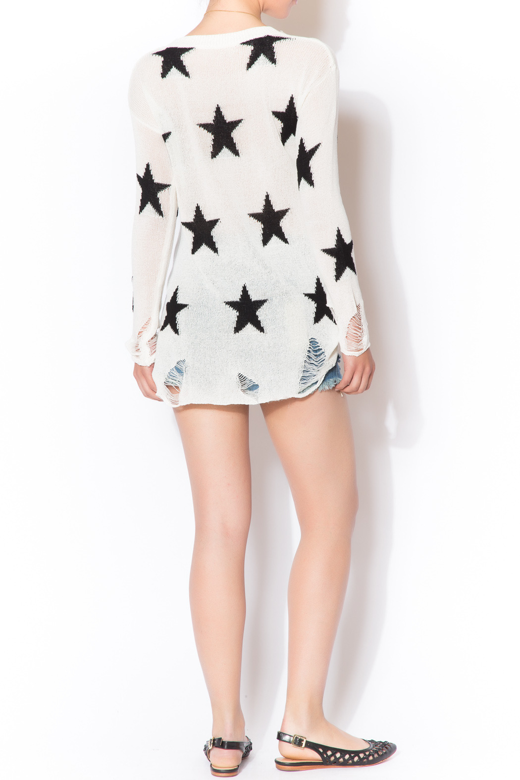 Star Shredded Sweater - Side Cropped Image