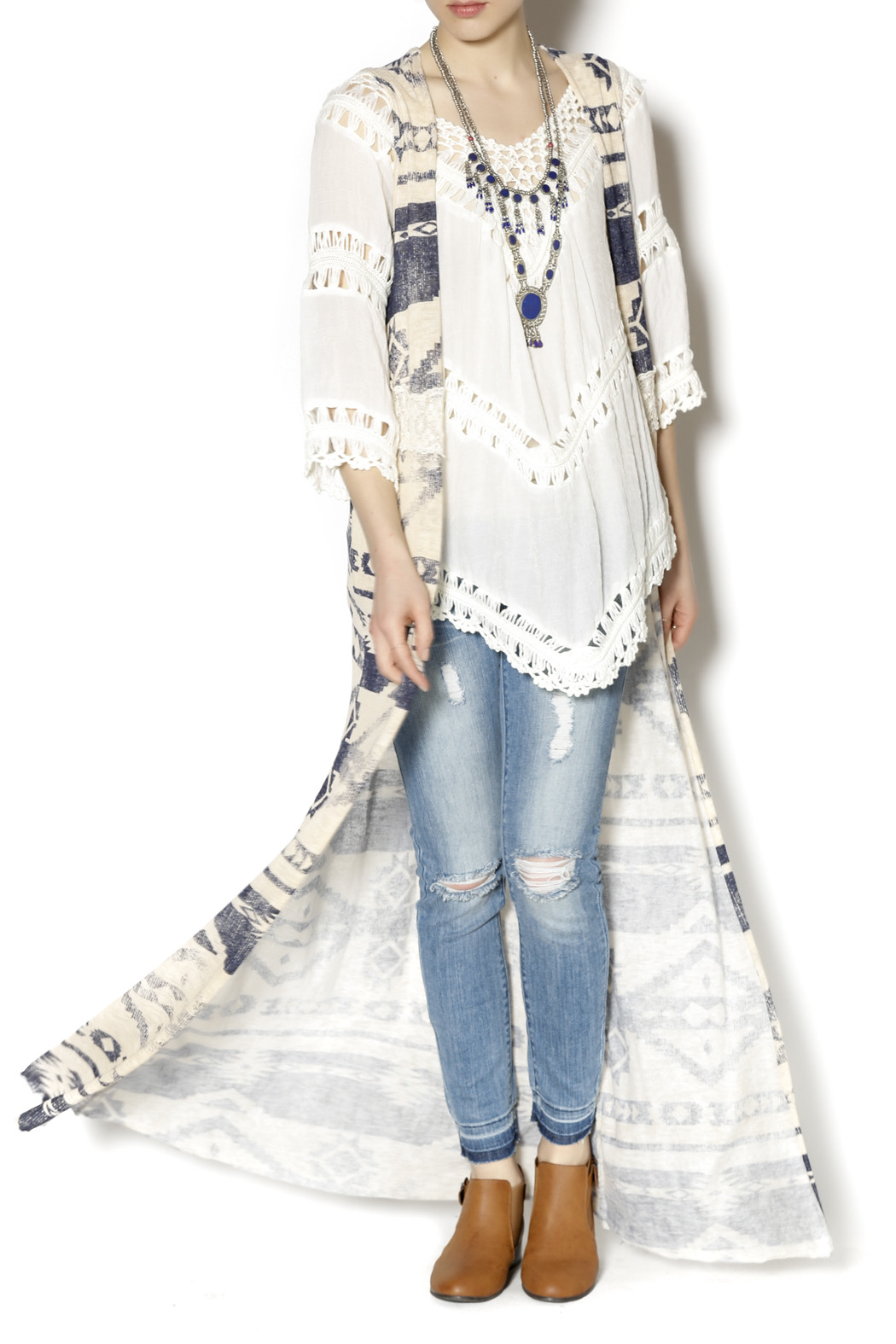 Ambiance Long Aztec Lace Duster - Side Cropped Image