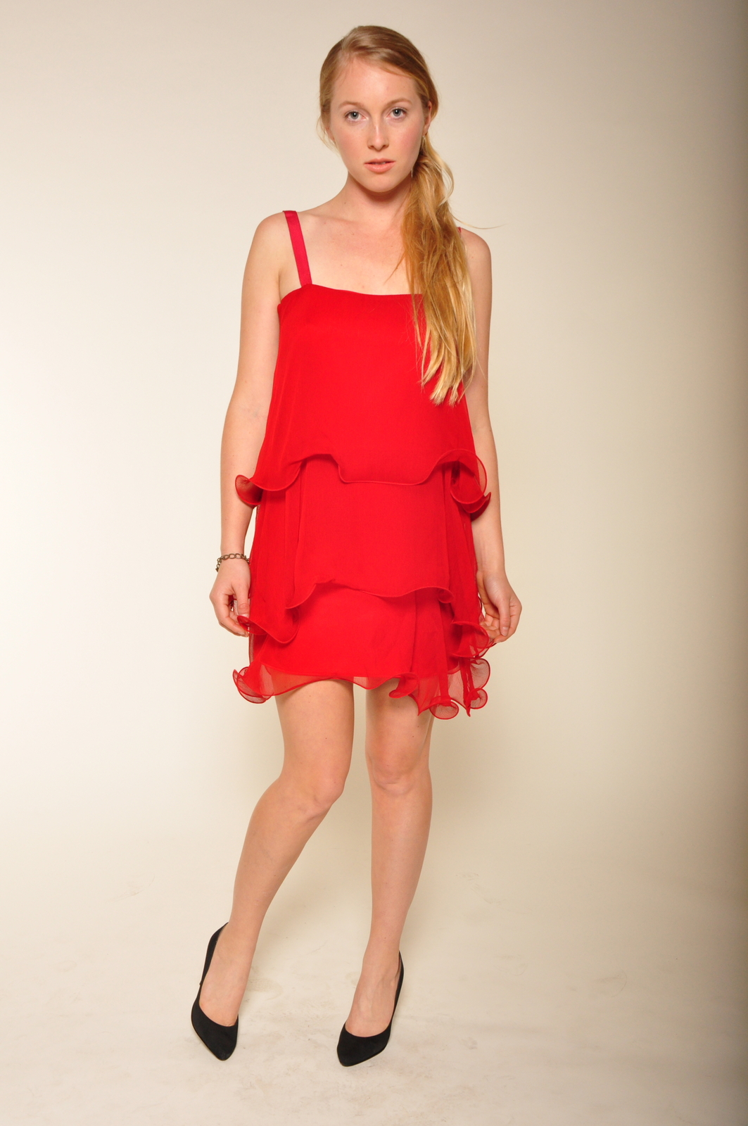 Paper Crown Wilde Cranberry Chiffon Dress - Front Full Image