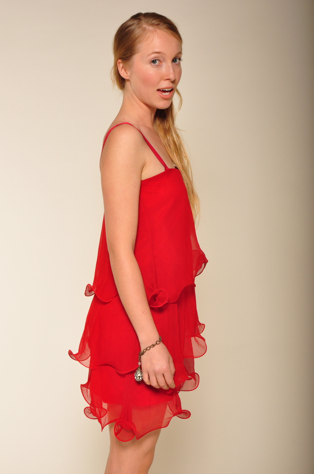 Paper Crown Wilde Cranberry Chiffon Dress - Side Cropped Image