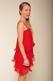 Paper Crown Wilde Cranberry Chiffon Dress - Side cropped