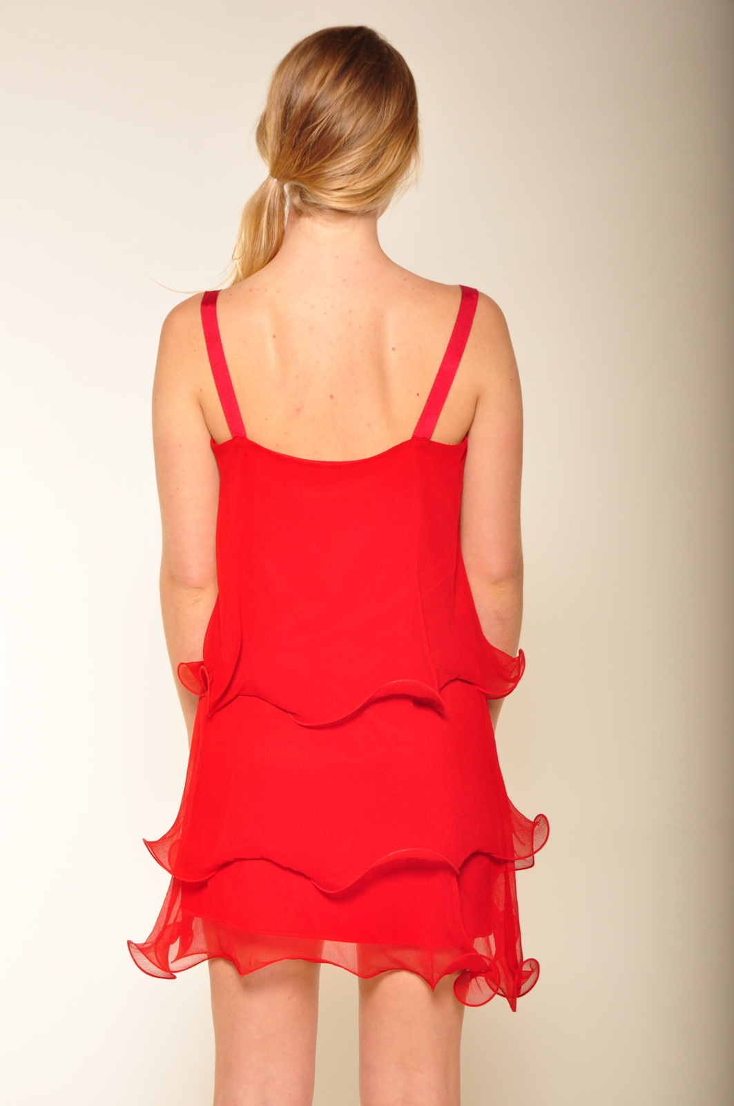 Paper Crown Wilde Cranberry Chiffon Dress - Back Cropped Image