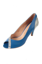Petite Mendigote Blue and Silver Heels - Front cropped