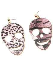 Shoptiques Product: Leopard Print Skull Earrings