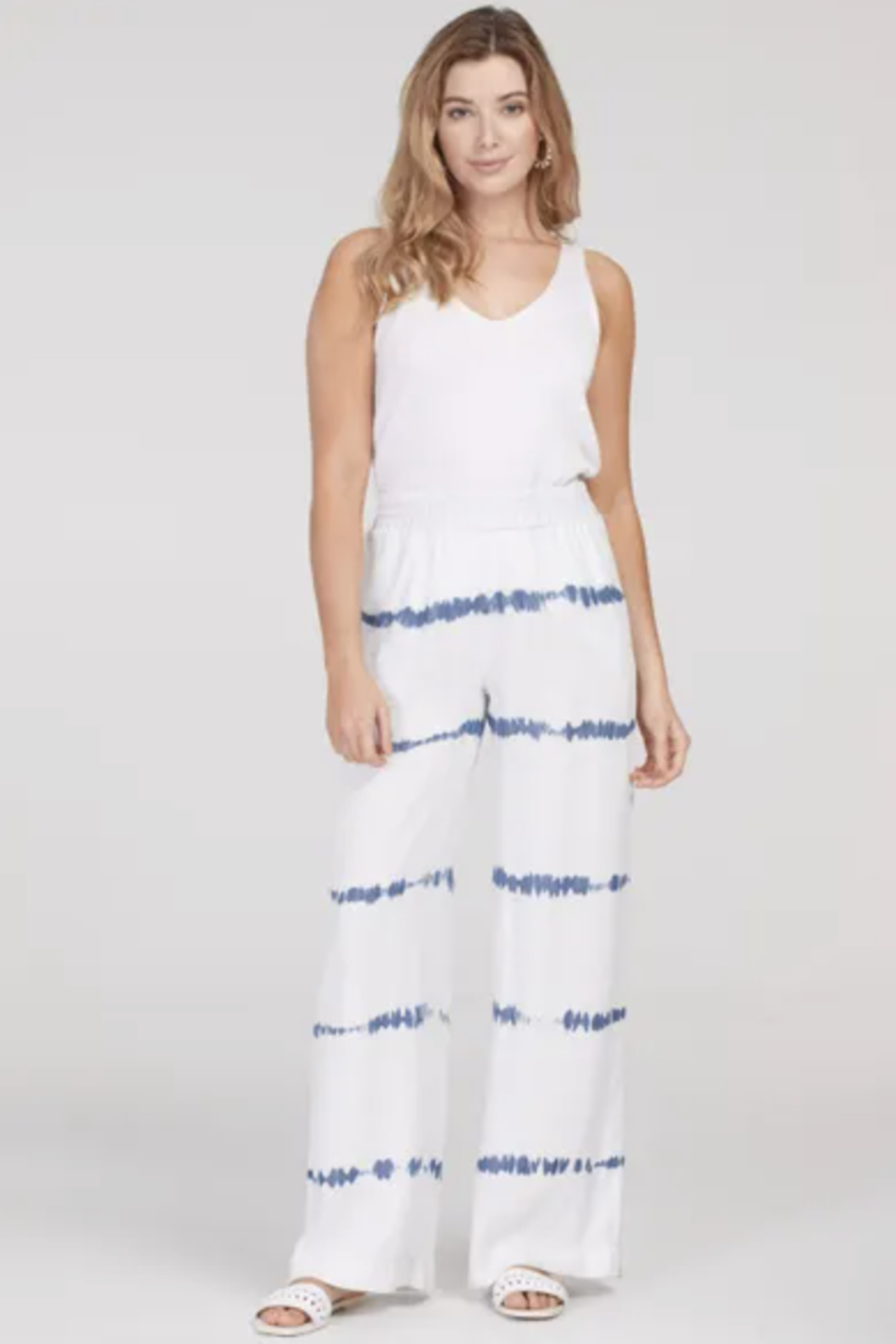 Tribal  6884O-1376-PULL ON WIDE LEG PANTS-WHITE - Front Cropped Image