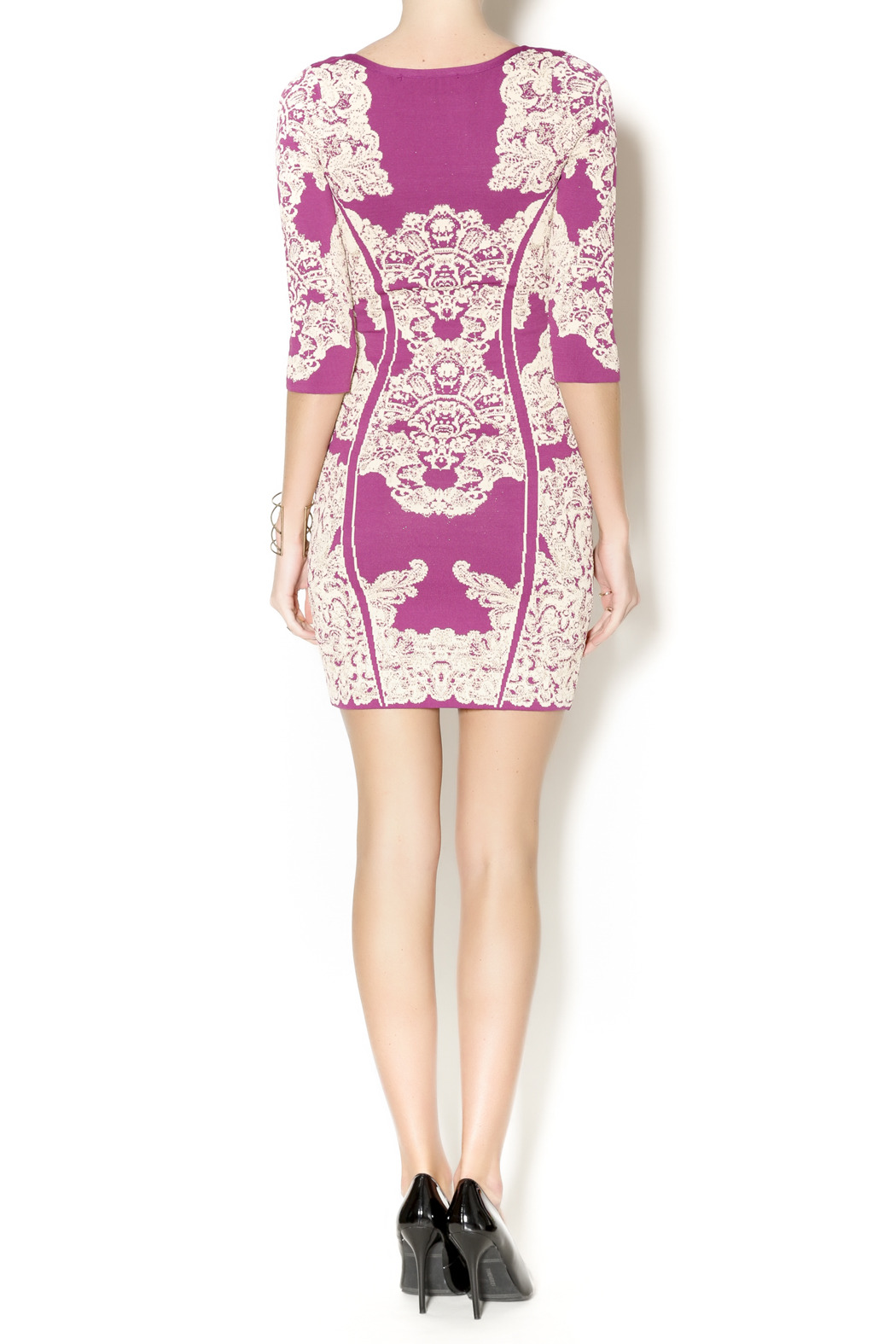 Wow Couture Damask Body Con Dress - Side Cropped Image