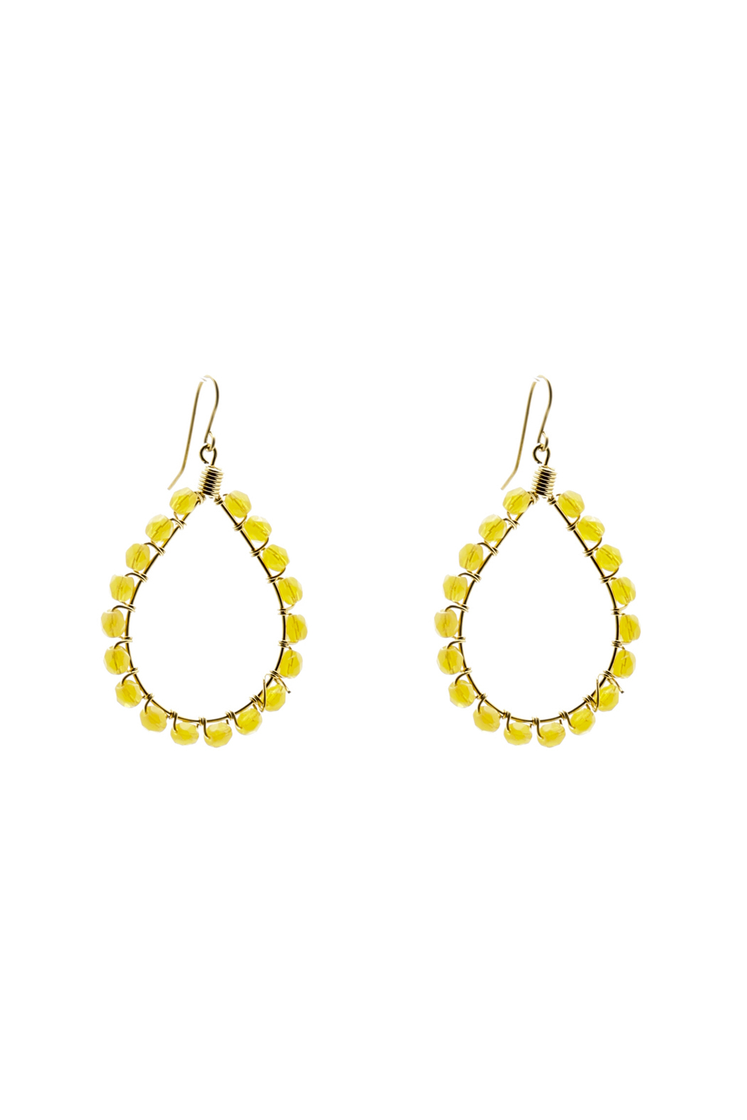 KTCollection Beaded Yellow Teardrops - Main Image