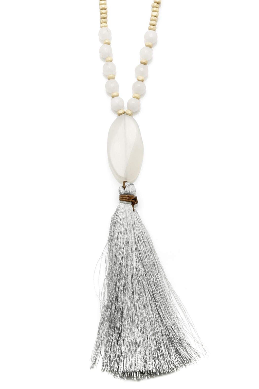 Jewels By Joanne Long Wood Tassel Necklace - Back Cropped Image