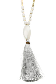 Jewels By Joanne Long Wood Tassel Necklace - Back cropped