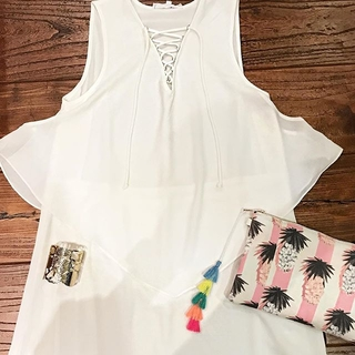 Shoptiques Product: White Lace Up Dress