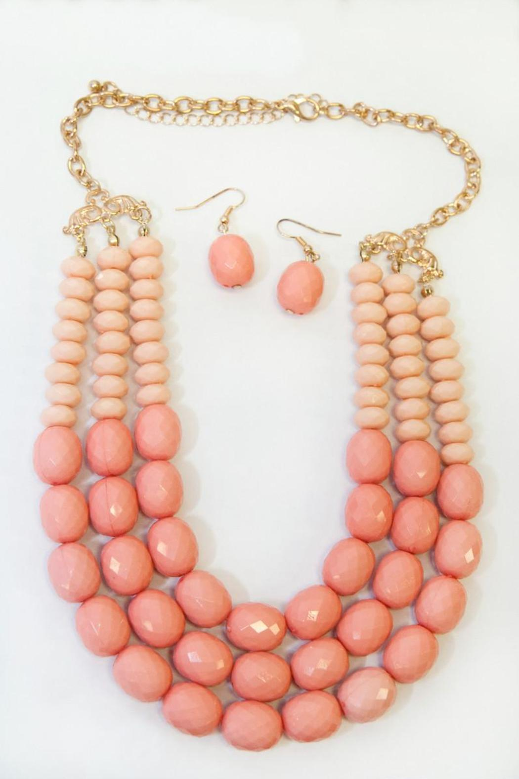 Coral Beaded Necklace - Front Full Image