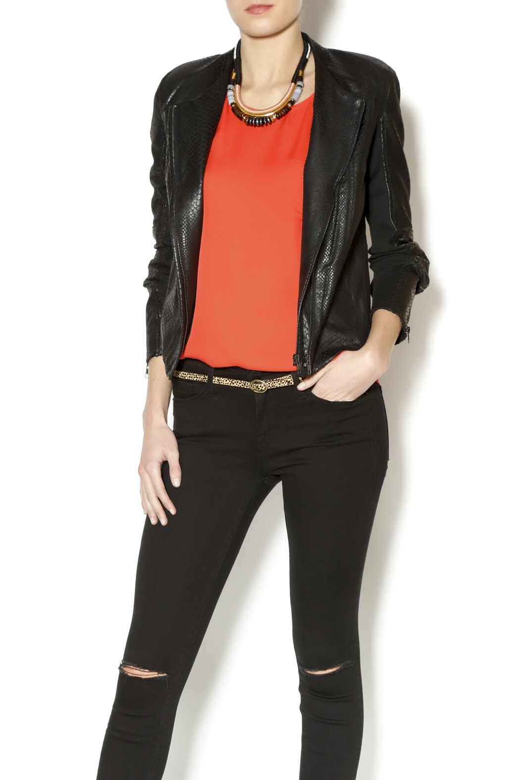 Olivaceous Snakeskin Leather Jacket - Front Cropped Image