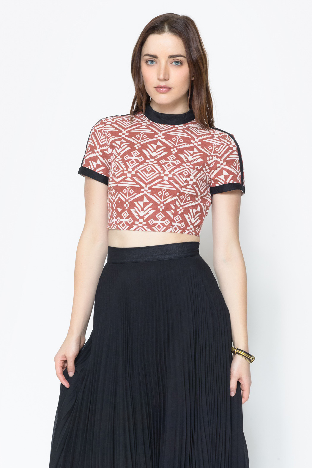 Nameless Aztec Print Crop Top - Front Cropped Image