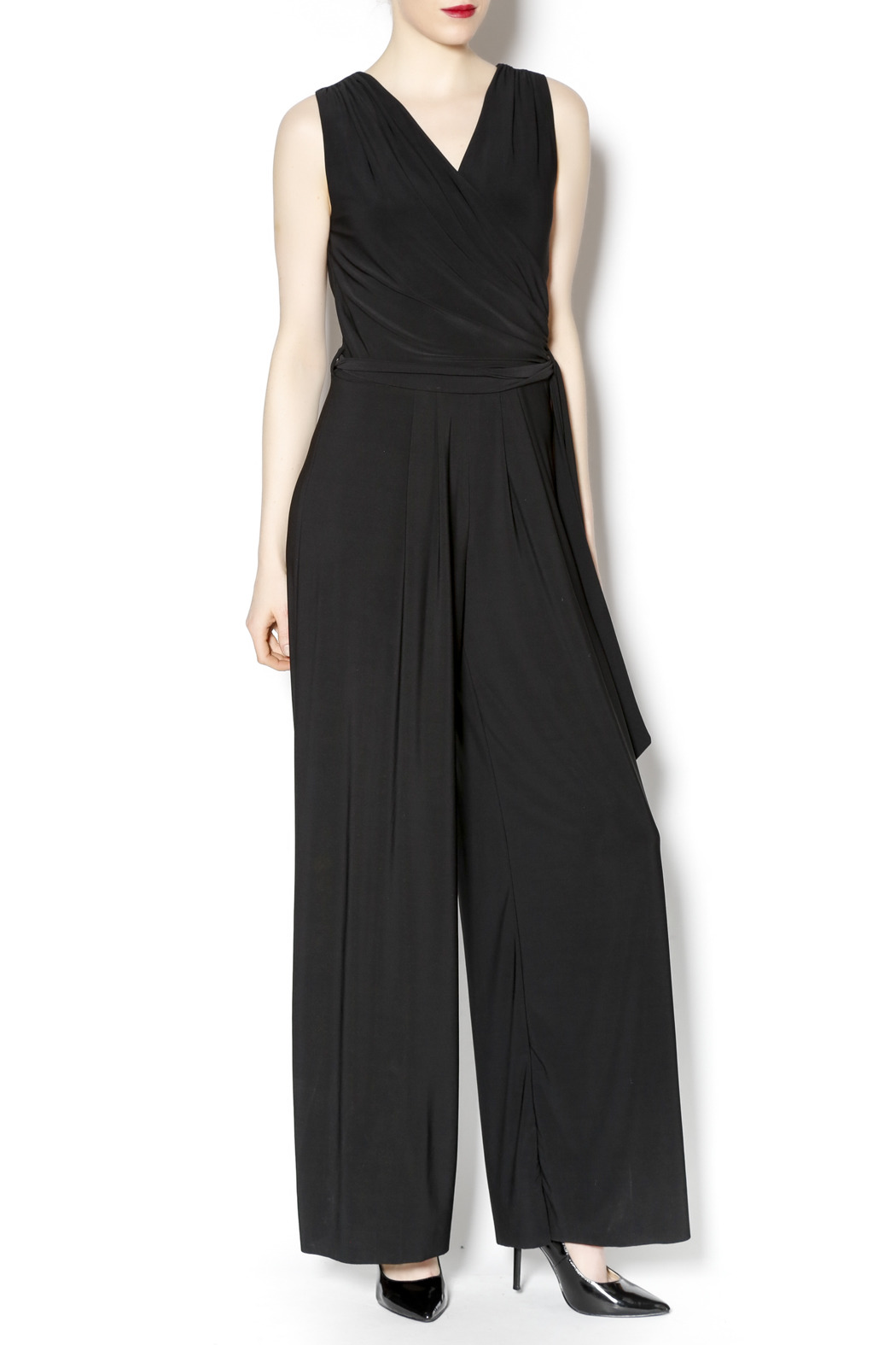 Last Tango Belted Black Jumpsuit - Front Cropped Image