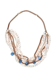 Shoptiques Product: Pearl and Stone Necklace - Front cropped