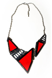 Shoptiques Product: Red Geo Necklace - Front cropped