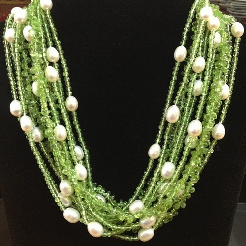 Peridot and Pearl Necklace - Main Image