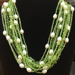 Peridot and Pearl Necklace - Instagram Image
