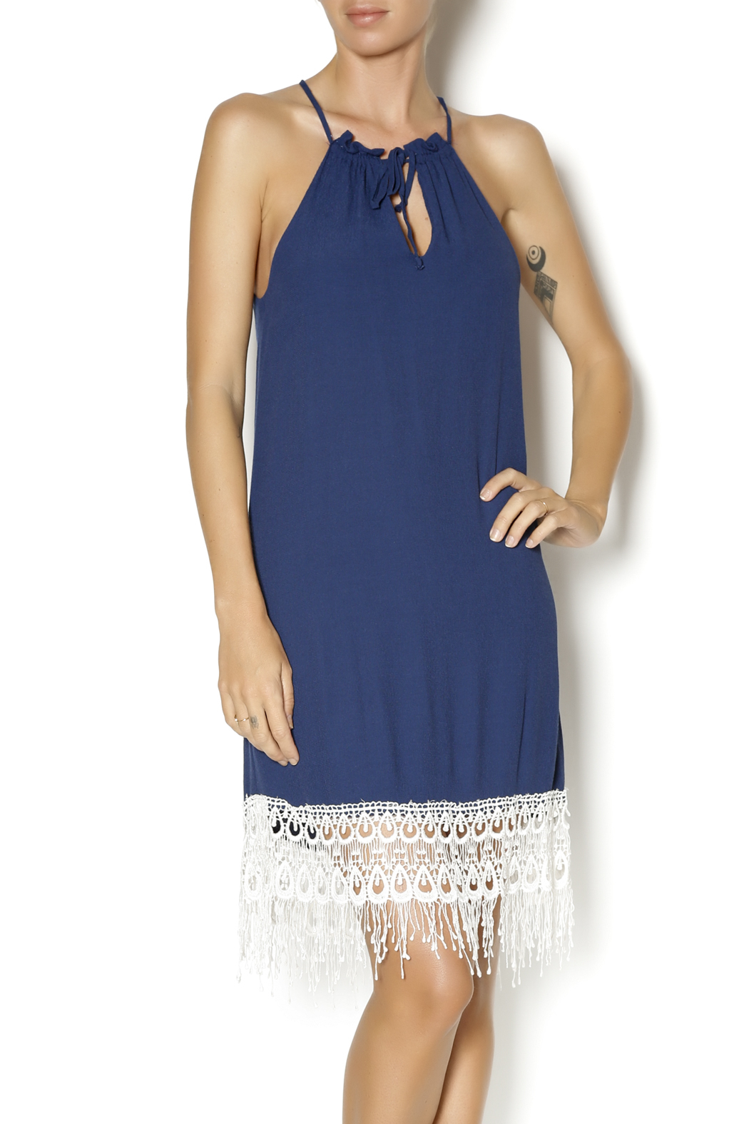 Lucy Love Navy Halter Dress - Main Image