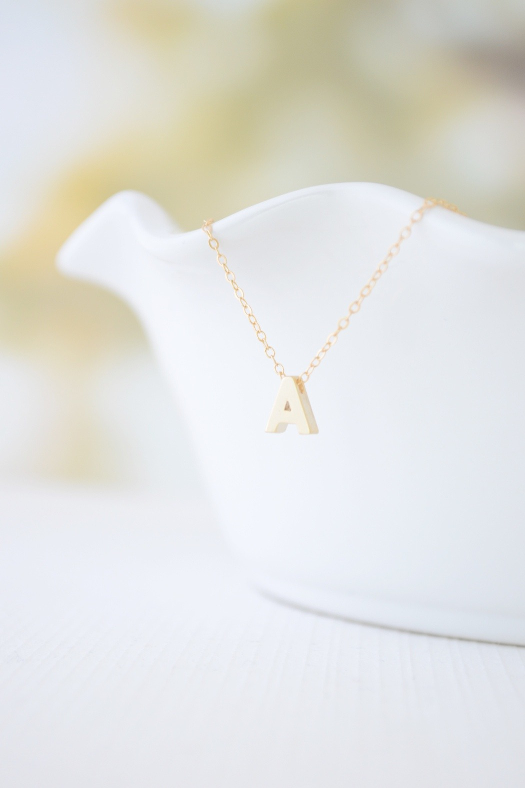 Olive Yew Capital Initial Necklace - Main Image