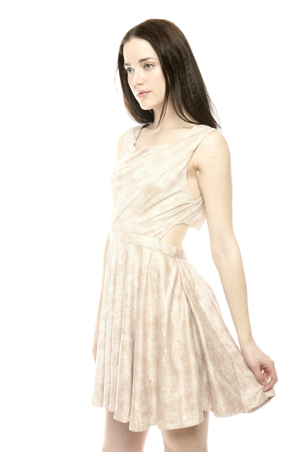 The Clothing Co BabyDoll Faux Leather Dress - Side Cropped Image