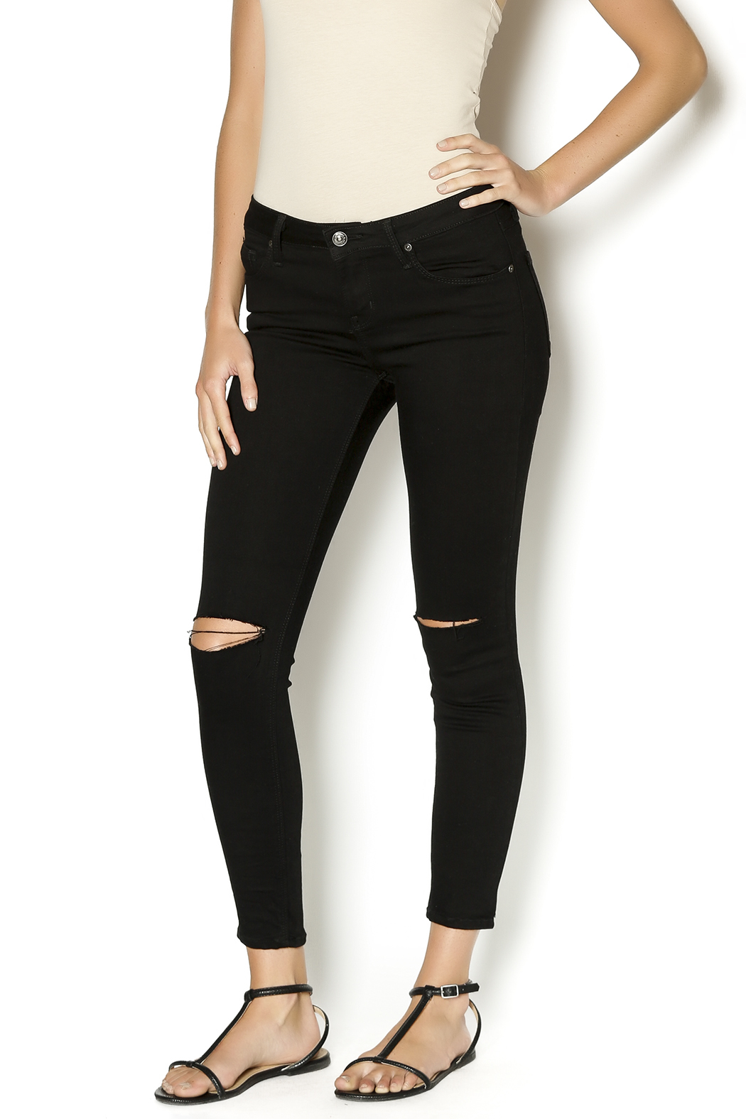 just black Slit Knee Skinny Jeans from Boston by Hello Caroline ...