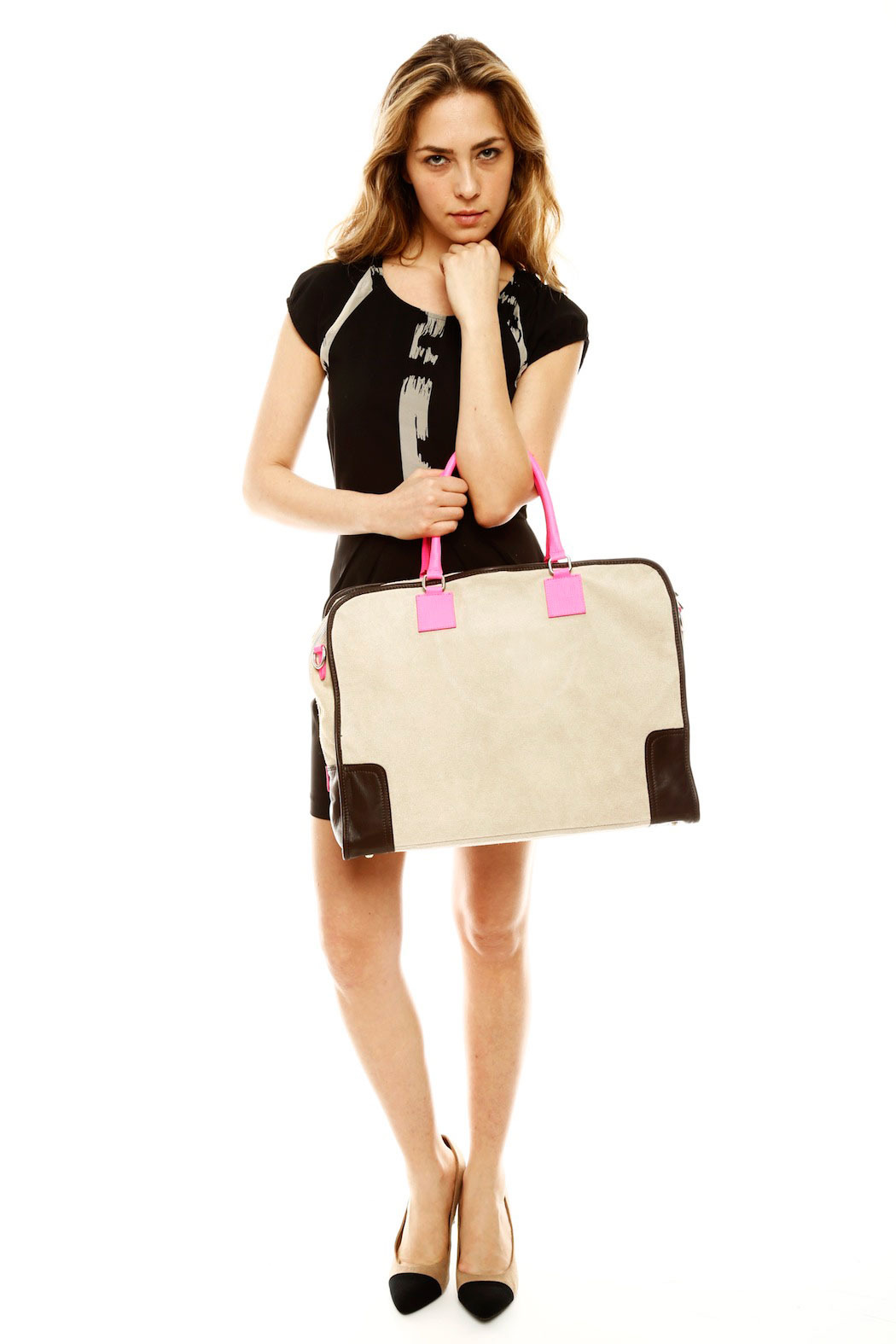 Alex-Max Large Suede Neon Bag - Side Cropped Image