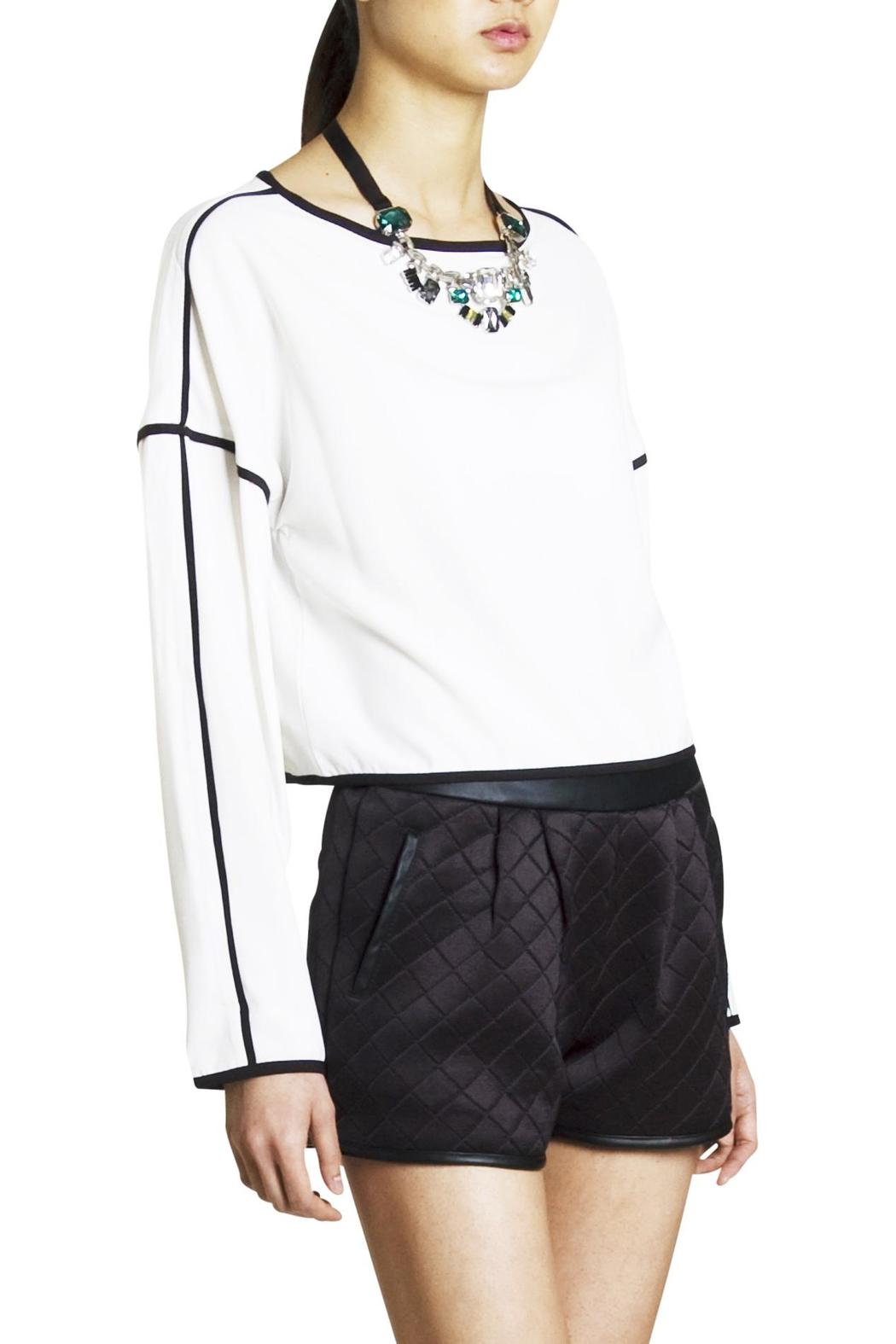 Endless Rose Contrast Crop Blouse - Front Cropped Image