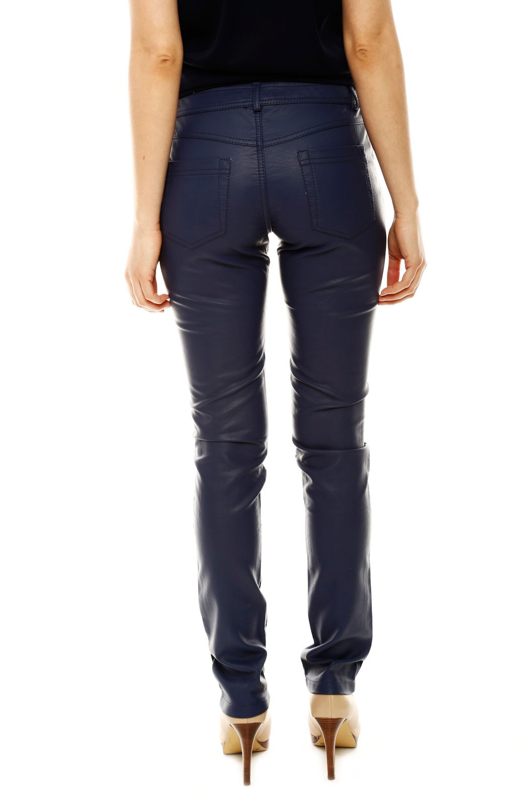 Laura Jo Navy Faux Leather Pants - Back Cropped Image