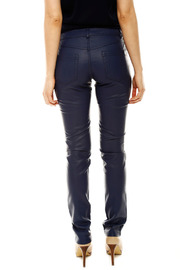Laura Jo Navy Faux Leather Pants - Back cropped