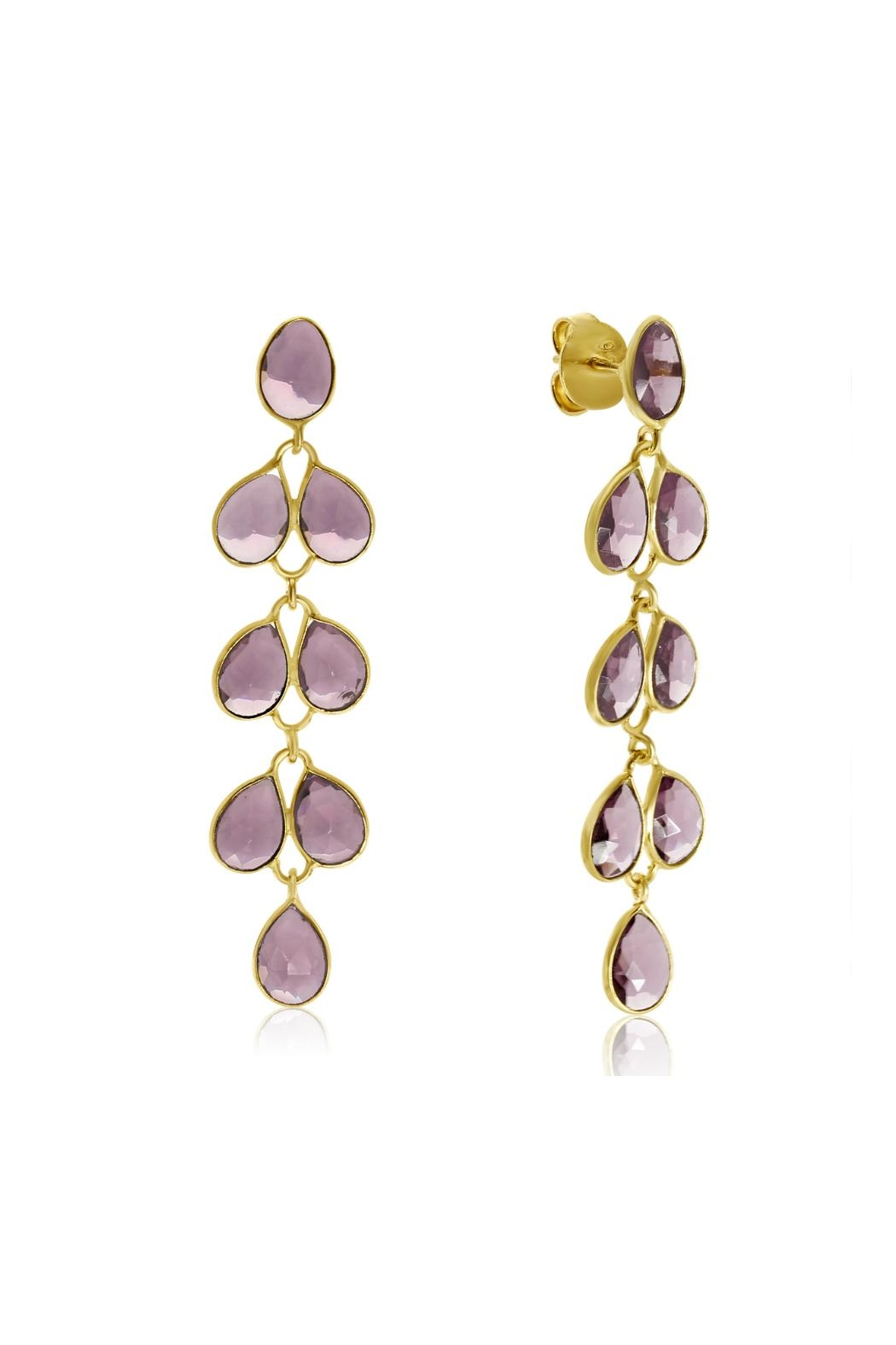 6th Borough Boutique Amethyst Maddie Earrings - Front Full Image