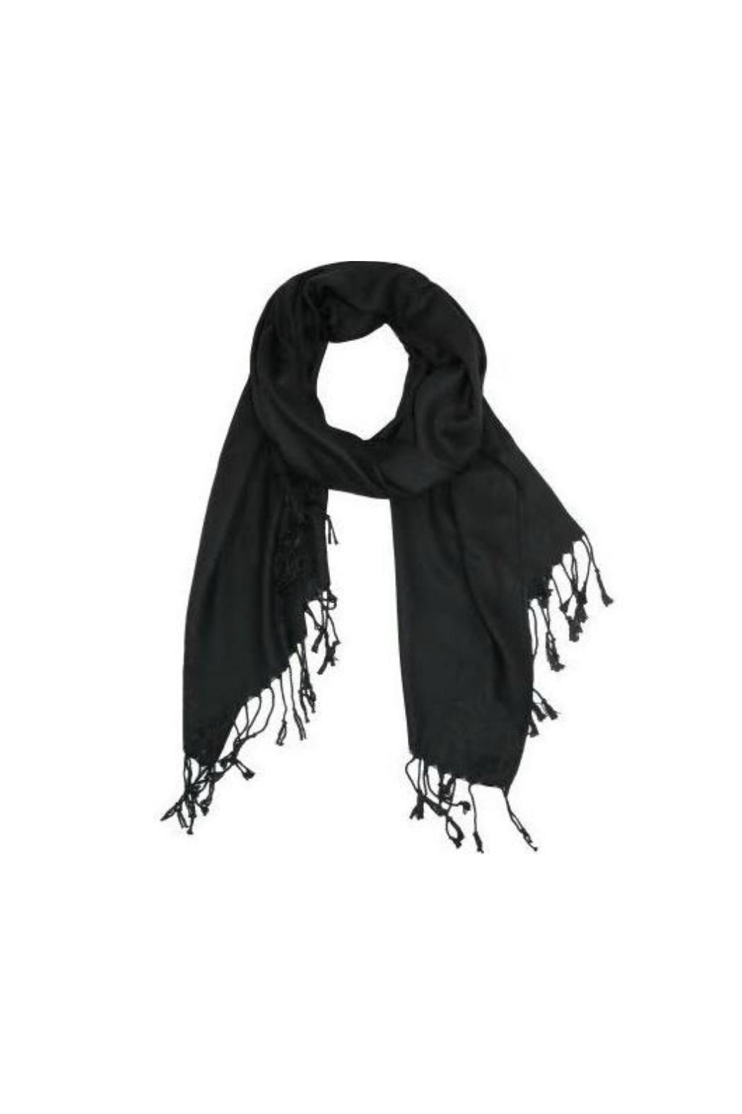 6th Borough Boutique Black Pashmina Scarf - Front Cropped Image