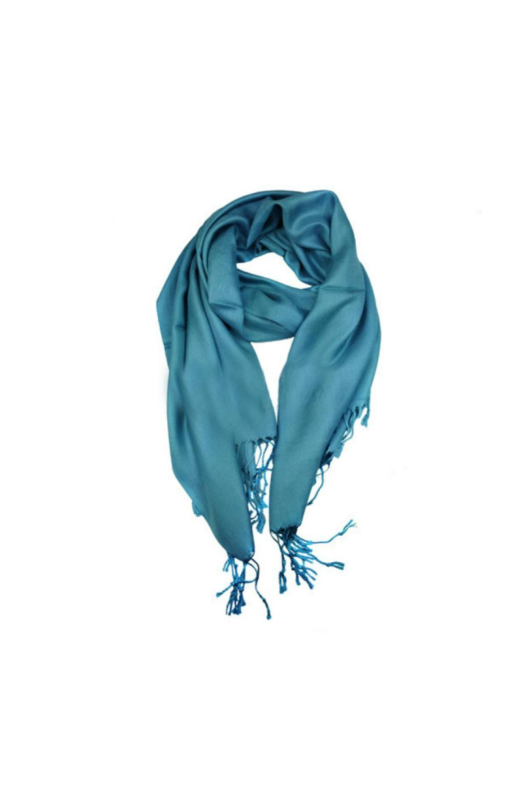 6th Borough Boutique Blue Pashmina Scarf - Front Cropped Image