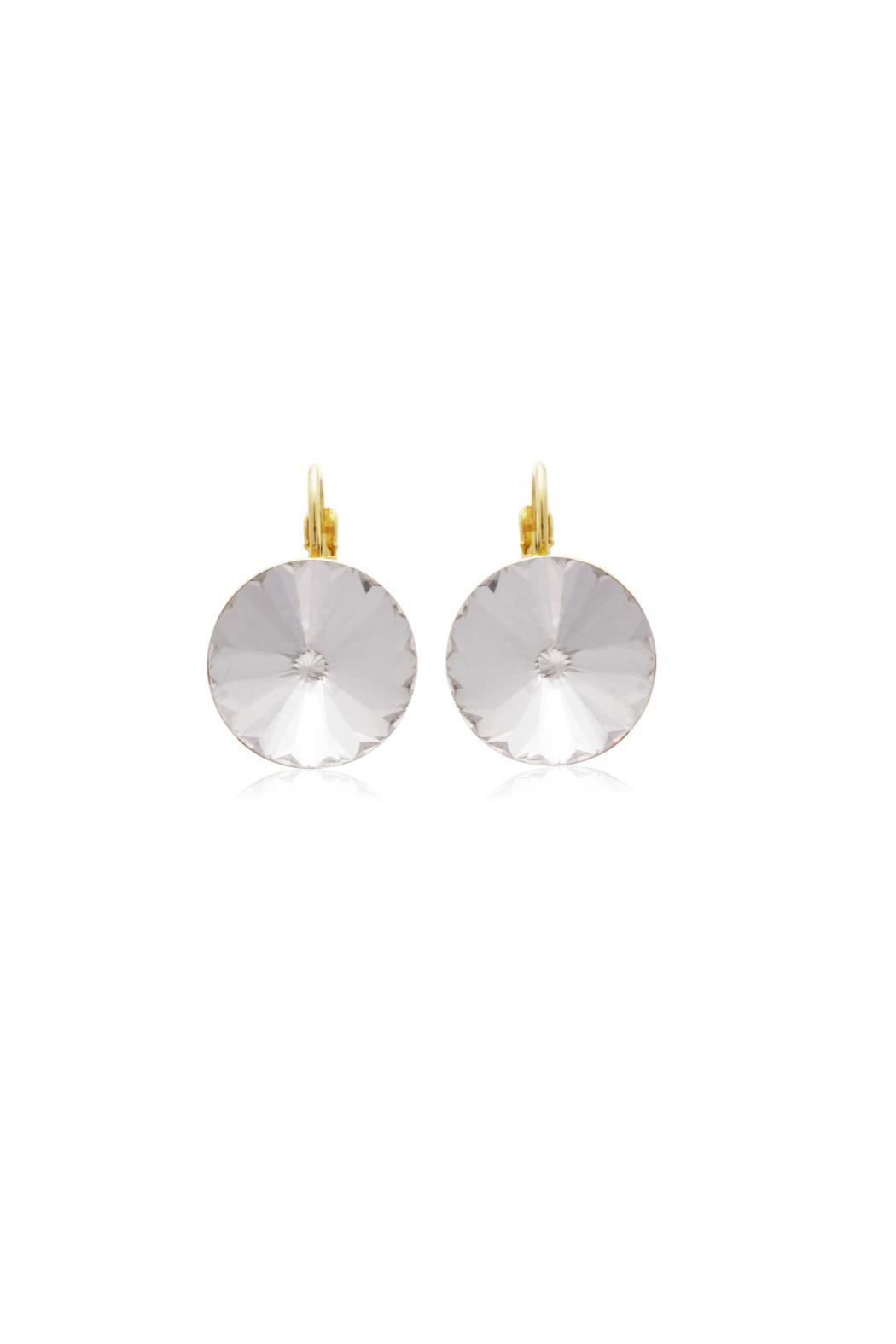 6th Borough Boutique Crystal Leverback Earrings - Front Full Image