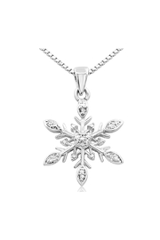6th Borough Boutique Diamond Snowflake Necklace - Front full body