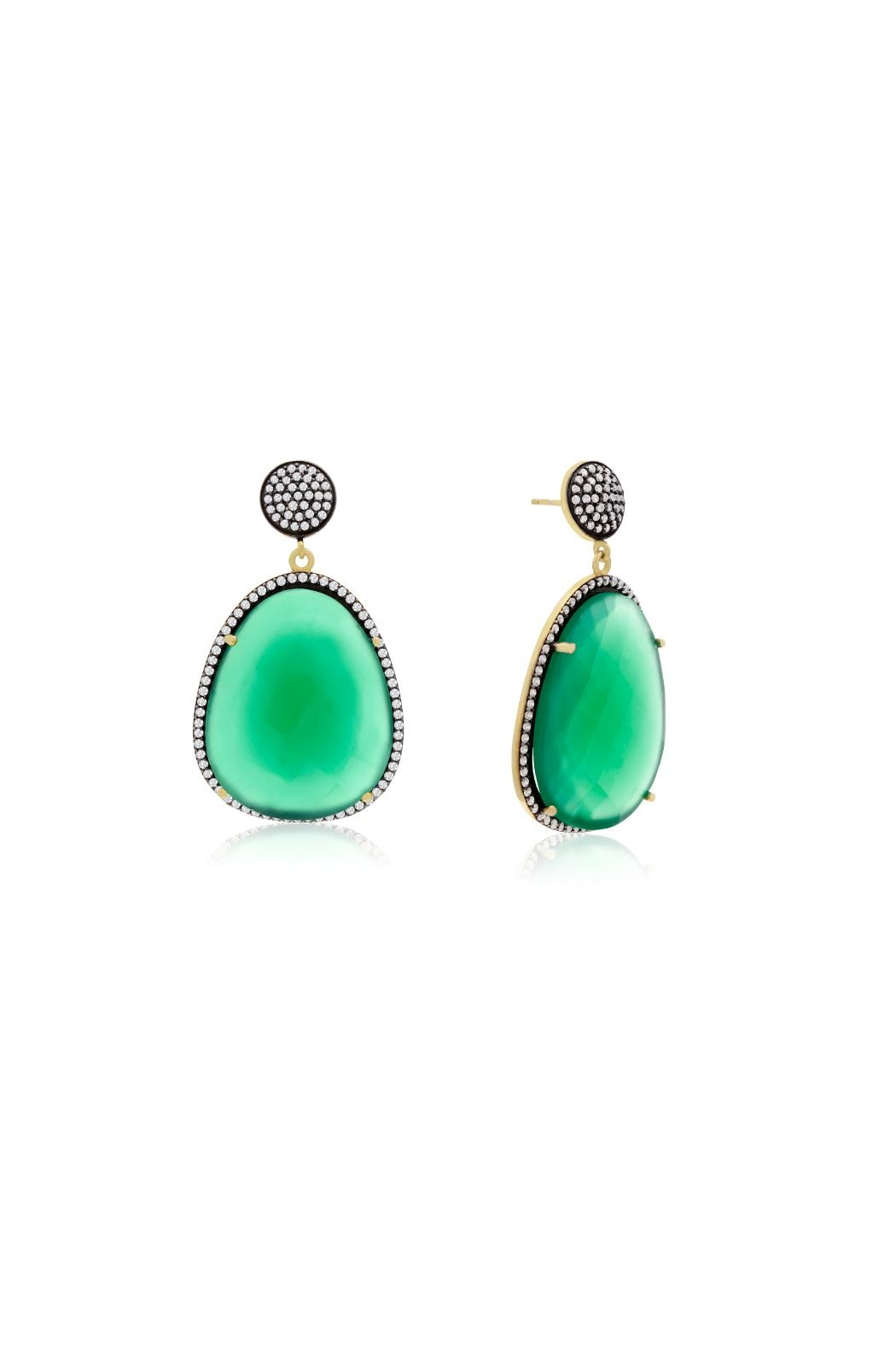 6th Borough Boutique Emerald Gemma Earrings - Front Cropped Image